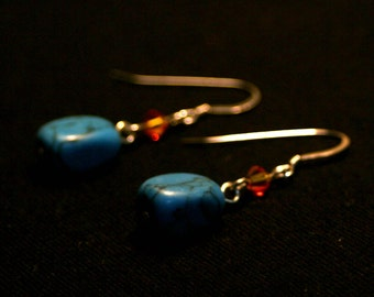 Michelle Earrings - Turquoise and Swarovski Crystal