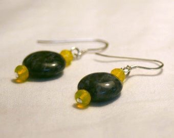 Blue Labradorite and Yellow Czech Glass Earrings