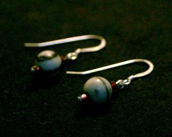 Black Silk Stone and Maroon Czech Glass Earrings