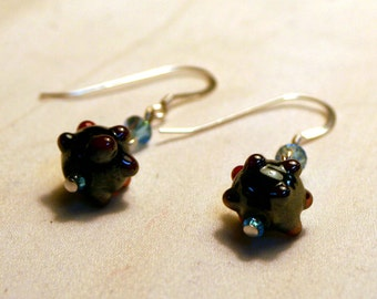 Orbit Earrings - Lampwork Beads with Swarovski Crystal