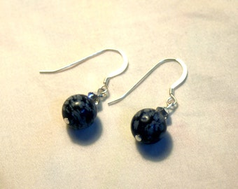 Snowflake Obsidian Earrings