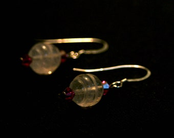 Rose Quartz and Pink Swarovski Crystal Earrings