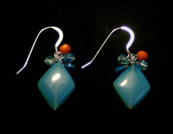 Blue Rhombus Earrings