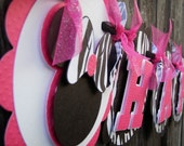 MINNIE MOUSE Happy Birthday Banner - Black, Hot Pink, Zebra Print by EKC