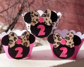 MINNIE MOUSE Hot Pink and Leopard Print Cupcake Wrappers by EKC