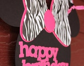 Hot Pink and Zebra Minnie Mouse Birthday Door Sign by EKC