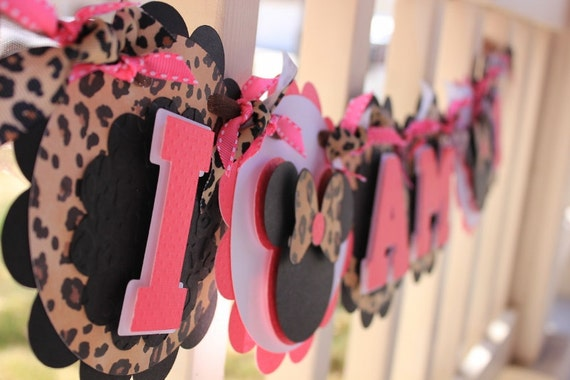 """Minnie Mouse """"I AM 1"""" High Chair Banner in Hot Pink and Leopard  Print by EKC"""