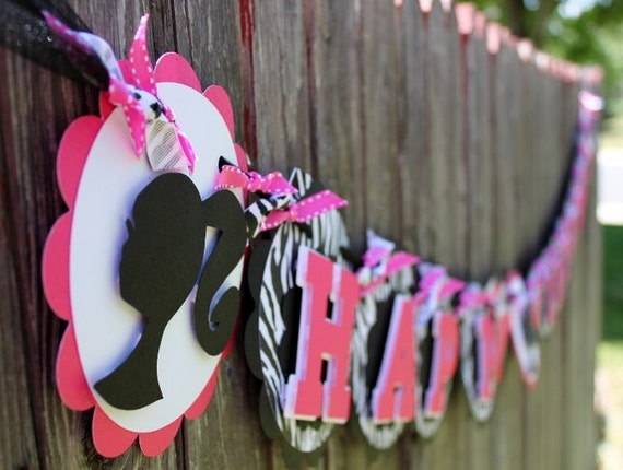 BARBIE Happy Birthday Banner - Black, Hot Pink, Zebra Print by EKC