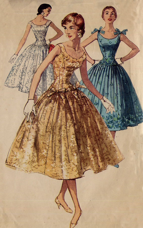 Vintage 1950s Cocktail Dress Pattern - Simplicity 1153 - Long Line Fitted Bodice - Full Gathered Skirt - Bow Trim - Size 18 - Uncut