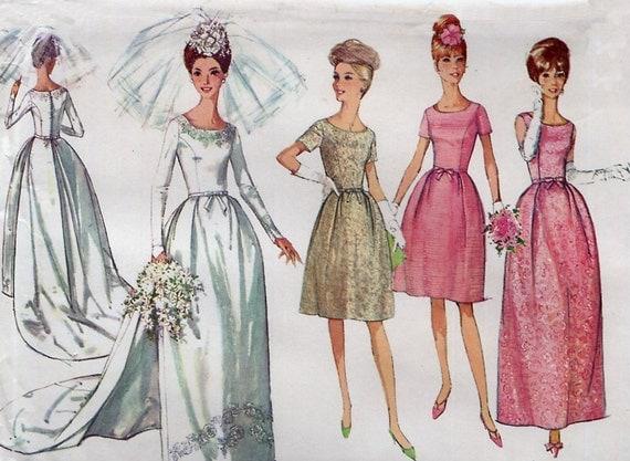 1960s Vintage Wedding Dress Pattern - Simplicity 6353 - Detachable Train - Bridesmaids Dress - Evening Dress - Size 14