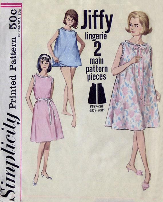 Jiffy Nightgown Top & Panties Pattern - Simplicity 5002 - Sleeveless - Vintage 1960s - Size M 14-16