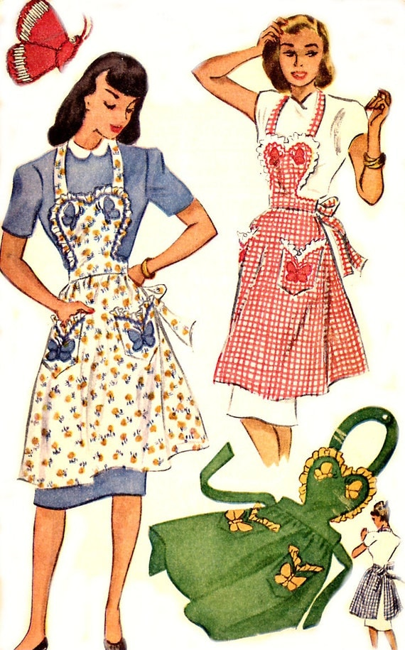 Vintage 40s Apron Pattern - McCall 1257 - Sweetheart Bib - Butterfly Applique - Size Small 12-14 - Uncut