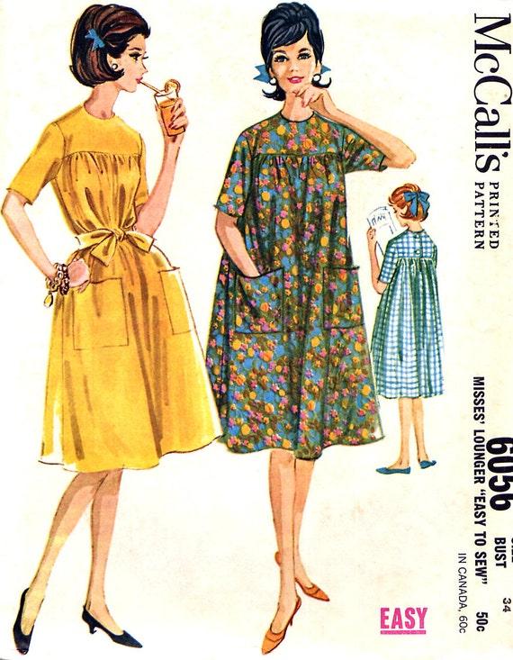 Vintage 60s Muu Muu Pattern - McCalls 6056 - House Dress / Lounger - Size 14 - Uncut