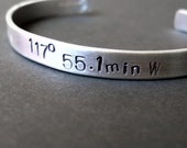Custom Hand Stamped Sterling Silver Latitude and Longitude Cuff Bracelet