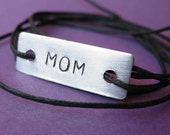 Custom Stamped Quote Tie On Bracelet- Stamped Aluminum Bracelet on cotton cord