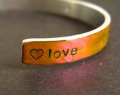 Love Cuff Bracelet- Color Changing Aluminum Cuff Bracelet changes from Orange to Pink
