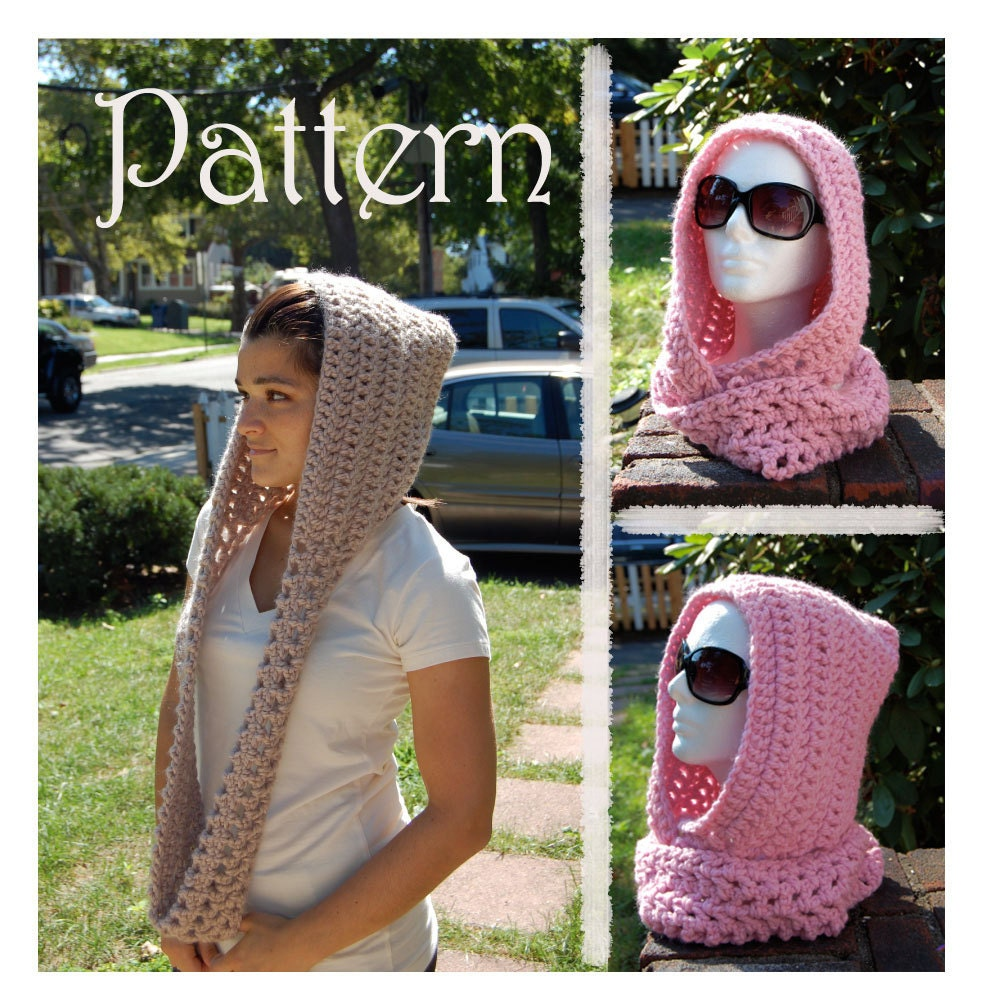 Easy Knitted Hooded Scarf Pattern Free : CROCHET PATTERN Scarf / Hoodie Pattern Easy