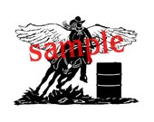 Reserved for buckaroobay - Cowgirl barrel racer with wings