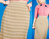TAN STRIPED ANGORA/WOOL Vintage 50s FITTED PENCIL SKIRT S