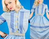 FABULOUS Vintage 1930s/30s BLUE STRIPE COTTON SUN DRESS Extra Cute.Amazing XS
