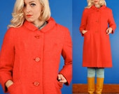 CRANBERRY Vintage 50/60s PINK WOOL BOUCLE COAT/JACKET XS Extra Small/S Small