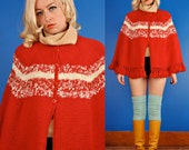 Vintage 60s RED and WHITE STRIPE SWEATER CAPE/COAT/PONCHO S Small/M Medium/L Large
