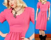 Pink Wool Vintage 40s Front Pleat Crepe Sheath Dress M Medium