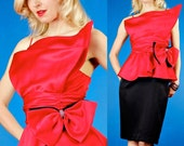 Killer Vintage 80s Asymmetric Red and Black Satin Sculpted Party Dress XS Extra Small/S Small
