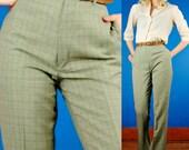 Mary Quant Vintage 70s London Sage Green Boyfriend Trousers/Pants L Large