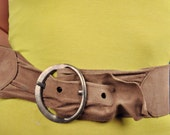 Wide Vintage 80s Ruched Taupe Brown Suede Leather Belt S Small/M Medium