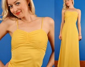 Yellow Sweetheart Vintage 70s Maxi Summer Party Dress XS Extra Small S Small
