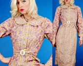 Vintage 1930s/30s Art Deco Ric-Rac Purple Yellow White Garden Daisy Floral Print Cotton Dress M