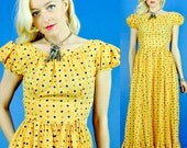 Golden Daisy Vintage 30s Summer Party Maxi Dress XS/S