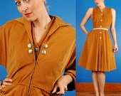 Incredible Vintage 40s 50s Caramel Corduroy Rockabilly Western Dress & Jacket/Coat M/L