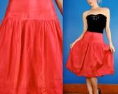 Florell Vintage 40s Fuchsia Pink Silk Faille Taffeta Dropwaist Party Skirt XS/S