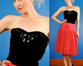 Black Velvet Vintage 50s Strapless Bustier/Bodice Evening Party & Pearls with Beads XS/S