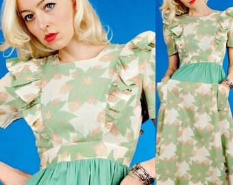 PARADISE Vintage 30s GREEN.White RUFFLE COTTON SUN DRESS XS/XXS Extra Small