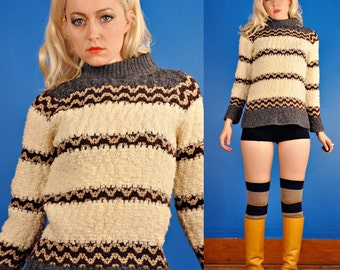 Jack Winter Vintage 60s Chunky Stripe Knit Pullover Sweater XS Extra Small/S Small