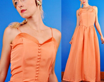 Emma Domb Vintage 40s Peach Pink Taffeta Maxi Party Dress/Gown M Medium