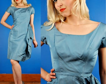 Blue Silk 50s Hourglass Party Dress with Asymm Flounce M