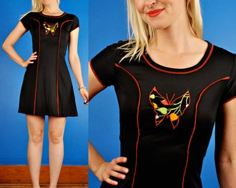 Black and Red Vintage 70s Butterfly Patch Princess Mini Dress XS/S