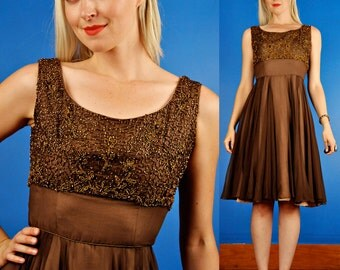 Larrabee Vintage 60s Bronze Beaded Chiffon Party Dress XS/S