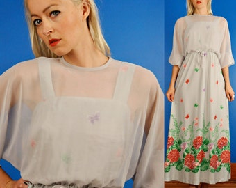 Butterfly and Hummingbird Print Vintage 70s Grey Maxi Dress w/ Sheer Overlay S/M