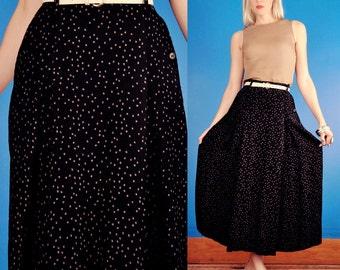 Giorgio Armani Vintage 80s High Waist Crinkle Pleat Pebble Print Black Maxi Skirt XS