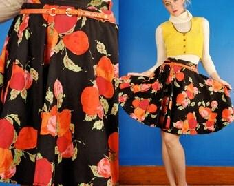 Black Plum Vintage 50s Orange & Red Fruit Print Mini Circle Skirt Cotton XS/S