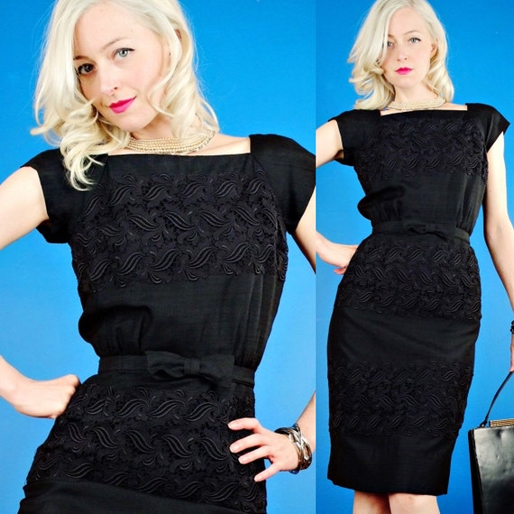 Monroe Wiggle Vintage 50s Black Silk and Lace Panel Hourglass Cocktail Dress XS Exra Small/S Small