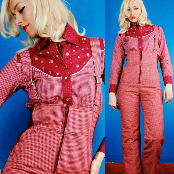 Incredible Maroon Red Check Print Vintage 80s Snow Pants and Western Shirt/Blouse Suit/Outfit XS Extra Small/S Small