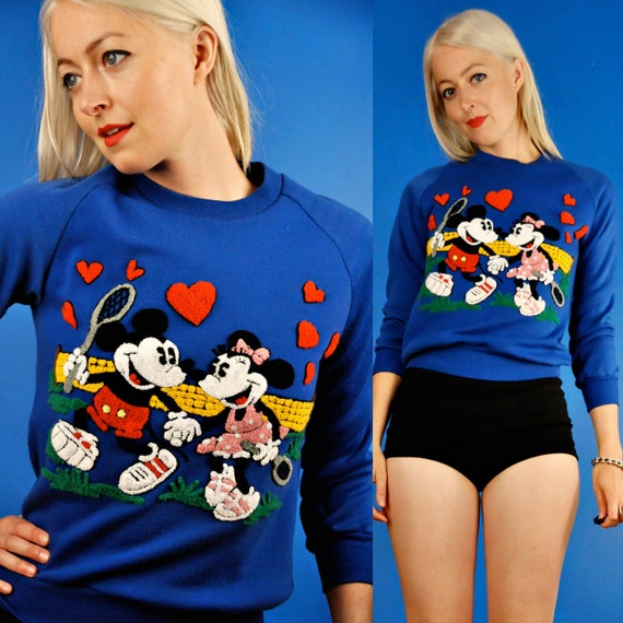 Mickey and Minnie Mouse Vintage 80s Fuzzy Disney Tennis Sweatshirt S