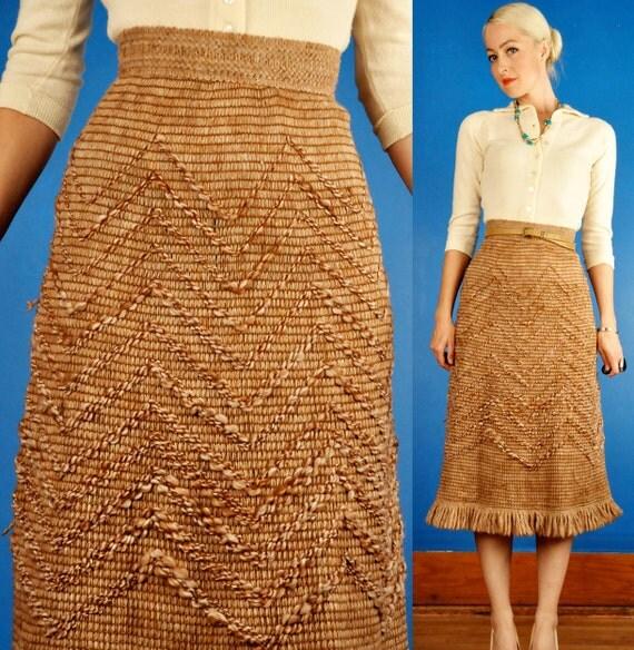 Brown Woven Vintage 70s High Waist Textured Midi Boho Skirt & Fringe XS/S