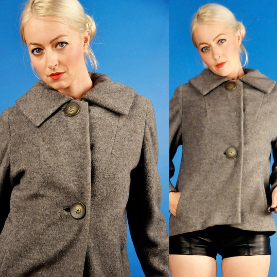 Super Cute Vintage 50s 60s Cropped Grey Heather Wool Short Waist Trapeze Coat M